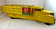 """VINTAGE 1940's COCA COLA Delivery Truck Marx Toys Large 21"""" Yellow  Sprite Boy"""