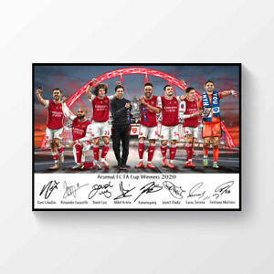 Arsenal FC FA Cup Winners 2020 Signed A4 Poster