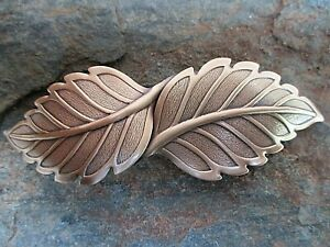 Leaf Antiqued Brass French Clip Hair Barrette 100mm Clip made in USA 6030B