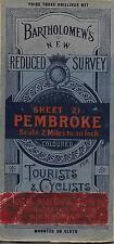 Rare Edwardian Bartholomew's Pembroke Tourists & Cyclists Mounted On Cloth Map