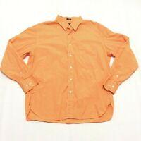 J. Crew Mens Long Sleeve Shirt Size XL 17-17.5 Orange White Striped Button Up