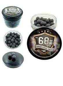100x Hard Rubber Steel Balls Paintballs Powerballs Munition 68 Cal. Home Defense