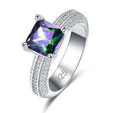Band Fashion Princess Sapphire Quartz & Rainbow White Topaz Gemstone Silver Ring