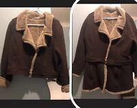 Athleta XXL 2XL Jacket Fleece Lined Panel BROWN TAN Convertible Moto 3 In 1 Coat