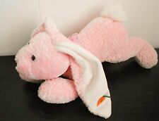 Easter Bunny Rabbit Floppy Pink Plush Stuffed Animal Carrot on Ear 15 inches
