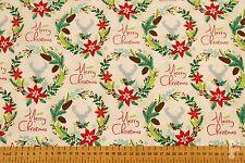 Natale (NATALE) stampato TESSUTO DI COTONE-corona tradizionale