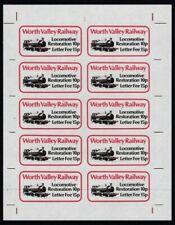 WORTH VALLEY RAILWAY 1980 RESTORATION LETTER STAMP SHEET OF 10 SUPERB UNGUMMED