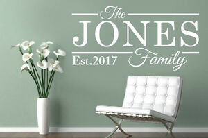 PERSONALISED FAMILY NAME Est Vinyl Wall Art Sticker Decal Kitchen Bedroom Lounge