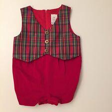 Vintage Style Boys Christmas Velvet Plaid Jon Jon Romper Red Green 6 9 Months
