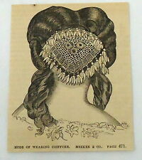 1859 small magazine engraving~ Mode of wearing Coiffure, Meeker & Co, Hair Styl