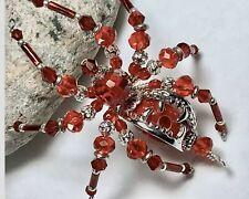 Silver Fanged Red Spider Ornament Goth Steampunk Wolf Teeth Sue DeYoung Original