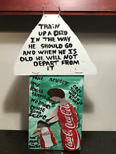 """MARY PROCTOR Folk Art Painting """"Train Up A Child"""", Oil and Metal on Wood, 7""""x18"""""""