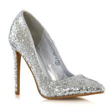 Womens Stiletto High Heel Court Shoes Ladies Glitter Slip On Pumps Size 3-8
