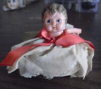 "ODD Vintage 1920s Celluloid Half Girl Doll Stuffed Sawdust Bottom 3 1/2"" Tall"