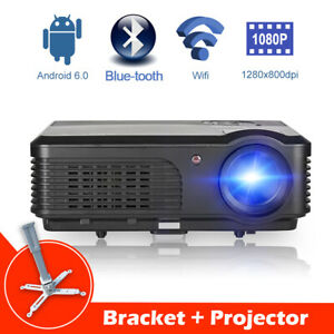 CAIWEI Android Projector WIFI Blue-tooth Home Cinema Movie HD 1080p+Big Bracket