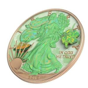 USA 2019 $1 Eagle Shamrock Opal Amulet 1 Oz Silver 9999 Coin Only 500 pcs