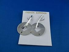 Ohrringe lange Ohrstecker  Silber mit Zirkonia Scheiben Design