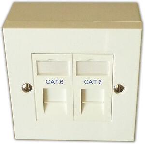 10x Cat 6 2 Way Data Network Outlet, Faceplate, Modules, Backbox. LAN Ethernet