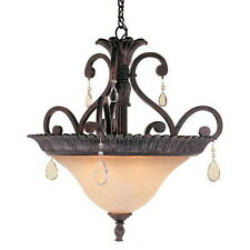 Rustic Bronze 3 Light Pendant/Chandelier With Crystal Accents