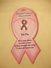 (12Pcs) Tac Pins with Rhinestone -New Pink Ribbon Breast Cancer Awareness