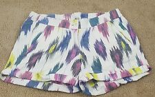 Womens J Crew cotton linen shorts size 2 multi color