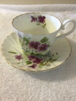 Royal Castle Bone China Tea Cup & Saucer Purple Floral Staffordshire England