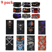 9pcs/SET Face Mask Bandana Balaclava Cover Reusable Washable Scarf Neck Gaiter