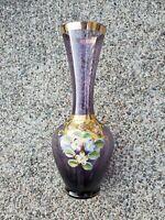 "Kreiss Japan Handpainted Glass Bud Vase Purple Gold Trim & Floral Design 7""x3"""
