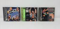 PLAYSTATION 1 Lot of 3 Wrestling Games - ECW Hardcore, WCW/NWO Thunder & Warzone