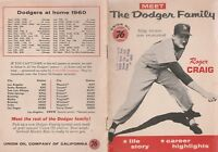 LOS ANGELES DODGERS ROGER CRAIG  1961 UNION OIL DODGER FAMILY  BOOKLET