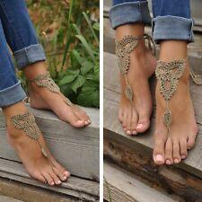 Women Barefoot Sandals Crochet Cotton Foot Jewelry Anklet Bracelet Ankle Chain
