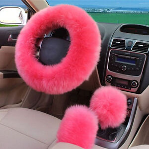 Pink Soft Car Steering Wheel Cover Furry Woolen Gear Knob Shifter Brake Cover