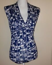 Ann Taylor Petite PS Blue and White Sleeveless Top