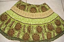 faded glory Mini Skirt green floral small lined 10 12 girls clothes free ship