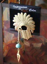 JJ Jonette Vintage Artifacts NATIVE American Warior Chest Guard Gold Brooch RARE