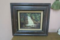 "Signed K. Beiber Oil on Canvas Painting Water Fall Framed 16"" x 18"" - 8"" x 10"""