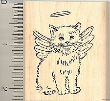 Cat Angel Rubber Stamp, Long-haired Breed, Pet Loss H5009 WM