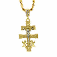 "Mens 14k Gold Plated Caravaca Cross Cz Pendant Hip-Hop 24"" Rope Chain"