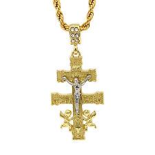 "Mens 14k Gold Plated Caravaca Cross Cz Pendant Hip-Hop 24"" Rope Chain"