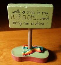 WALK A MILE IN MY FLIP FLOPS & BRING ME A DRINK Beach Tiki Bar Decor Sign - NEW