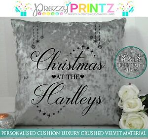 PERSONALISED CUSHION CHRISTMAS AT THE FAMILY GREY SILVER CRUSHED VELVET GIFT