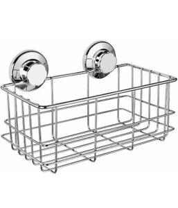Suction Cup Shower Caddy Bath Organizer - Bathroom Storage Basket Chrome Silver