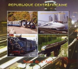 Central African Rep 2011 CTO Trains of Asia Steam Engines 4v M/S Rail Stamps