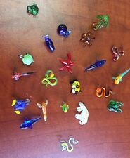 Lot 21 Vintage Art Glass Miniature Animals Fish Turtle Frog Seal Pam Tree Blown