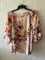 New Charter Club Woman's Blousson Sleeve Floral Top   Blush Muti   Plus Size  G4