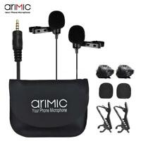 ARIMIC Dual-Head Omnidirectional Lavalier Microphone for Smartphone DSLR Camera