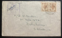 1943 Middle East Force PO Egypt Censored Cover to Salisbury southern Rhodesia