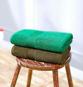 Towel Cotton Blend Color Dark Green and Brown Brand New Pack of 2 Standard Size
