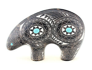 Navajo Horsehair Pottery Bear by Navajo Artist Tyneesha Charlie