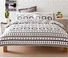 Black White & Grey Reversible Casablanca Quilt / Doona Cover Set - Double Bed